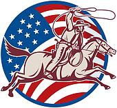 cowboy riding horse with lasso and american flag