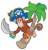 Pirate monkey with palm tree