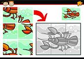cartoon crayfish jigsaw puzzle game