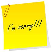 Yellow note with I'm sorry message