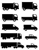 set icons cars and truck silhouette
