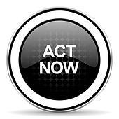act now icon, black chrome button