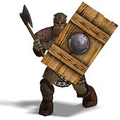 Male Fantasy Orc Barbarian with Giant Axe. 3D rendering with clipping path and shadow over white