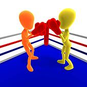 Two 3d male icon toon characters boxing against each other. 3D rendering with clipping path and shadow over white