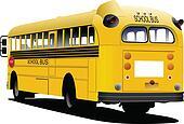 Yellow school bus. Vector illustrat