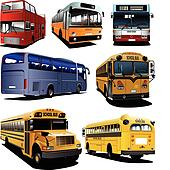 Seven city buses. Coach. School bu
