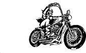 Pirate riding amercian motorcycle