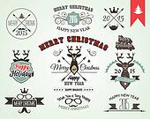 2015 Christmas decoration set of calligraphic and typographic elements