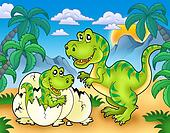Tyrannosaurus rex in landscape