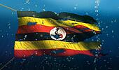 Uganda Under Water Sea Flag National Torn Bubble 3D
