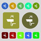Washbasin icon sign. 12 colored buttons. Flat design.