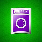 washing machine icon sign. Symbol chic colored sticky label on green background.