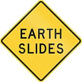 Road sign used in the US state of Texas - Earth slides