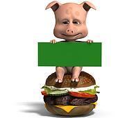 cute toon pig invites to a burger party. 3D rendering with clipping path and shadow over white