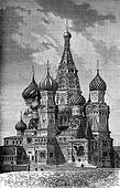 St. Basil Church on the Red Square in Moscow, vintage engraving.