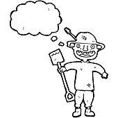 cartoon farmer, with spade