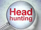 Finance concept: Head Hunting with optical glass