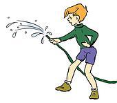 Boy with hose