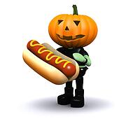 3d Pumpkin head eats a nice hotdog