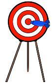 dart hitting bullseye on target on a stand