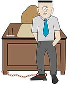 business man chained to his desk