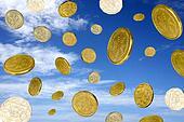 coins sky blue