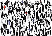 100 people silhouettes. Vector col