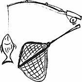 Fishing rod hooked fish, fishin net