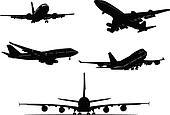 black and white Airplane silhouett