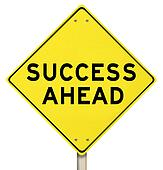 Yellow Road Sign - Success Ahead - Isolated