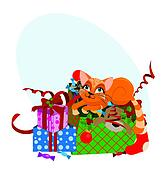 Cute Christmas cat - vector illustration.