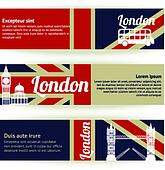 Collection of banners and ribbons with London landmarks