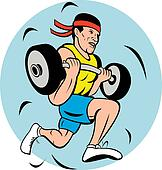 man lifting weights while running or jogging