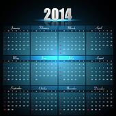 Beautiful Calendar for 2014 template bright blue colorful creative design vector