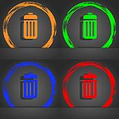The trash icon symbol. Fashionable modern style. In the orange, green, blue, green design.