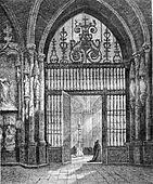 Iron gate forging the choir of the Cathedral of Burgos, Spain, vintage engraving.