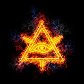 Eye of Providence, covered in flames.