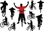 Ten men with bicycle. Vector illus
