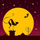 silhouettes of black cat and bat against moon in halloween night