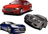 Three cars. Sedan. Vector illustra