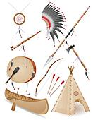 set icons objects american indians illustration