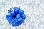 Blue bow from ribbon