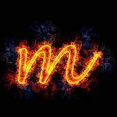 Fiery letter m.