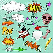 Set of comic elements