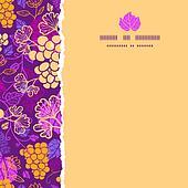 Sweet grape vines square torn border seamless pattern background