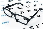 Eye glasses and eye chart. 3d image