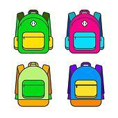 School bag vector illustration. Colorful school bag vector icon