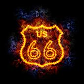 Fiery route 66 highway shield.