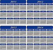 Four Year Calendar in Blue