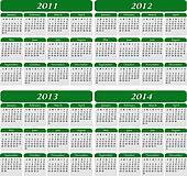 Four Year Calendar in Green